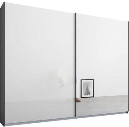 An Image of Malix 2 door 225cm Sliding Wardrobe, Graphite Grey frame,White Glass & Mirror doors , Premium Interior