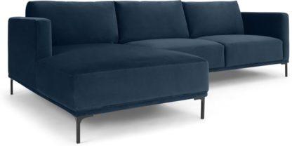 An Image of Milo Left Hand Facing Chaise End Corner Sofa, Sapphire Blue Velvet