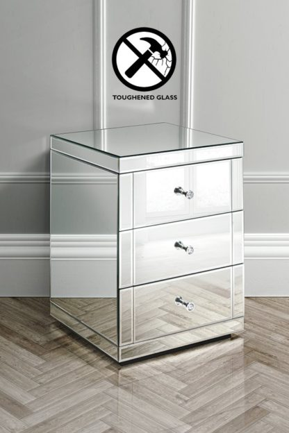 An Image of LUCIA Toughened Mirrored Bedside Table with 3 Drawers