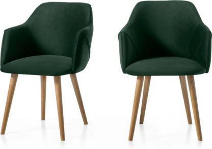 An Image of Set of 2 Lule Carver Dining Chairs, Pine Green Velvet and Oak