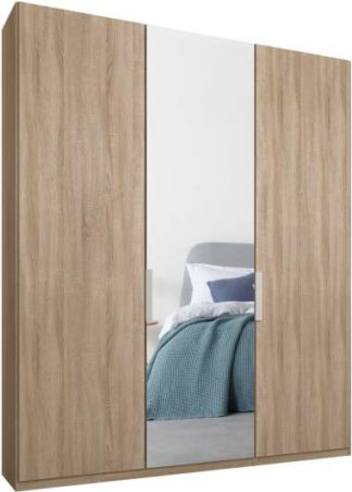 An Image of Caren 3 door 150cm Hinged Wardrobe, Oak Frame, Oak & Mirror Doors, Standard Interior