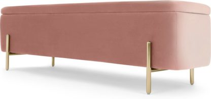 An Image of Asare 150cm Ottoman Storage Bench, Blush Pink Velvet