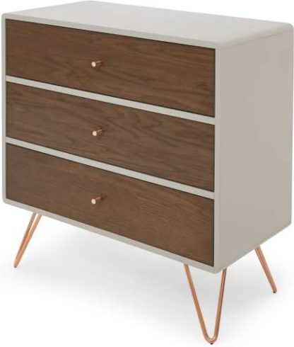 An Image of Ukan Chest of Drawers, Grey and Dark Stain Oak, Copper