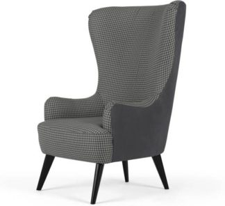 An Image of Bodil Accent Chair, Dogtooth Printed Seat and Leather Back