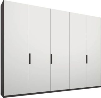 An Image of Caren 5 door 250cm Hinged Wardrobe, Graphite Grey Frame, Matt White Doors, Standard Interior