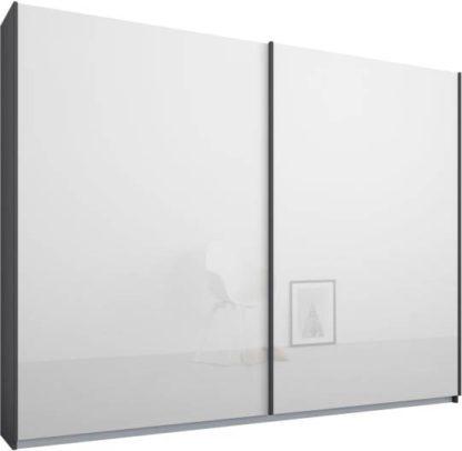 An Image of Malix 2 door 225cm Sliding Wardrobe, Graphite Grey frame,White Glass doors, Standard Interior