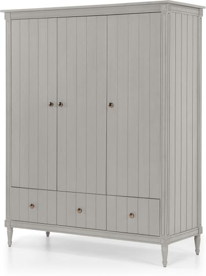 An Image of Bourbon Vintage 3 Door Triple Wardrobe, Grey
