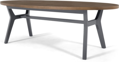 An Image of Jenson Oval Coffee Table, Dark Oak and Grey