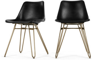 An Image of 2 x Kendal Dining Chair, Black and Brass