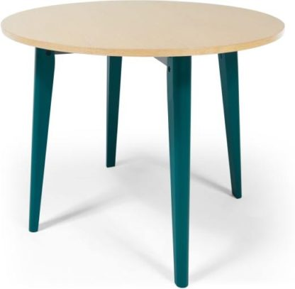 An Image of MADE Essentials Hurst 4 Seat Round Dining Table, Oak and Teal