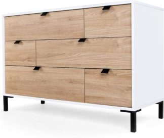 An Image of Latymer Multi Chest of Drawers, Oak Effect and White Gloss