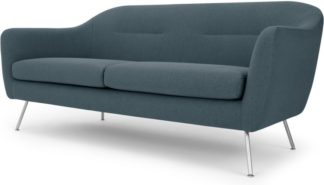 An Image of Reece 3 Seater Sofa, Mina Earl Blue with Metal Legs