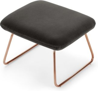 An Image of Frame Footstool, Concrete Cotton Velvet with Copper Frame