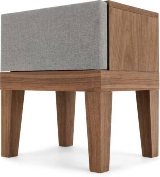 An Image of Lansdowne Upholstered Bedside Table, Walnut and Heron Grey