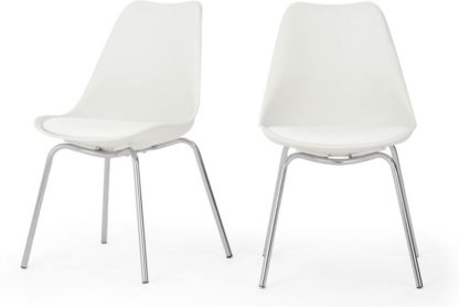 An Image of Set of 2 Briony Dining Chairs, Chrome and White