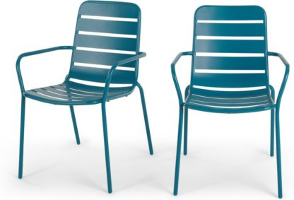 An Image of MADE Essentials Set of 2 Tice Garden Dining Chair, Teal