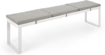 An Image of Catania Large Garden Dining Bench, White and Polywood