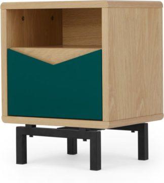 An Image of Louis Bedside Table, Oak & Green