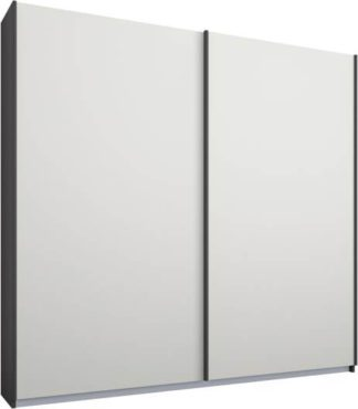 An Image of Malix 2 door 181cm Sliding Wardrobe, Graphite Grey frame,Matt White doors, Standard Interior