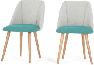 An Image of Set of 2 Lule Dining Chairs, Emerald Green and Hail Grey