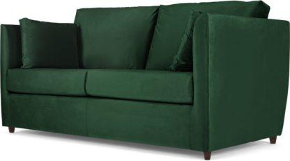 An Image of Milner Sofa Bed with Foam Mattress, Bottle Green Velvet