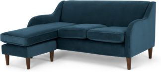 An Image of Helena Large Chaise End Corner Sofa, Plush Teal Velvet