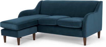 An Image of Helena Large Chaise End Corner Sofa, Plush Teal Velvet
