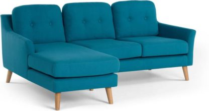 An Image of Rufus Left Hand Facing Chaise End Corner Sofa, Rich Azure