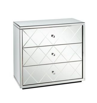 An Image of KNIGHTSBRIDGE Mirrored Low Chest with 3 Drawers and Plinth