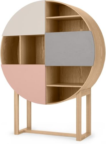 An Image of Didsbury Round Cabinet, Ash and Grey