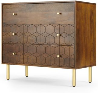 An Image of Hedra Chest of Drawers, Mango Wood & Brass