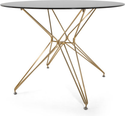 An Image of Belden 4 Seat Round Dining Table, Smoked Glass and Brushed Brass