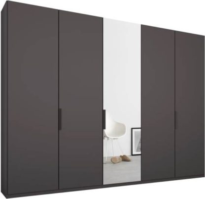 An Image of Caren 5 door 250cm Hinged Wardrobe, Graphite Grey Frame, Matt Graphite Grey & Mirror Doors, Standard Interior