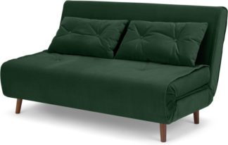 An Image of Haru Large Double Sofa Bed, Pine Green Velvet