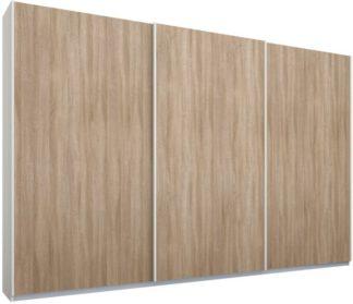 An Image of Malix 3 door 270cm Sliding Wardrobe, White frame,Oak doors, Standard Interior