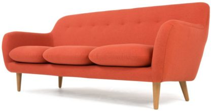 An Image of Dylan 3 Seater Sofa, Retro Orange