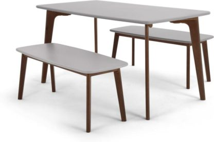 An Image of Fjord Dining Table and Bench Set, Dark Stain Oak and Grey