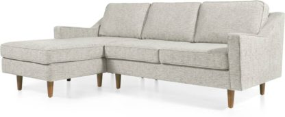 An Image of Dallas Left Hand Facing Chaise End Corner Sofa, Grey Basketweave