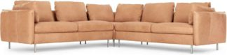 An Image of Vento 5 Seater Corner Sofa, Tan Leather