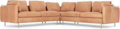 An Image of Vento 5 Seater Corner Sofa, Tan Leather