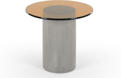 An Image of Calvin Side table, Concrete and Amber
