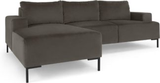 An Image of Frederik 3 Seater Left Hand Facing Compact Corner Chaise End Sofa, Otter Velvet