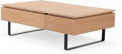 An Image of Flippa Functional Coffee Table with Storage, Oak