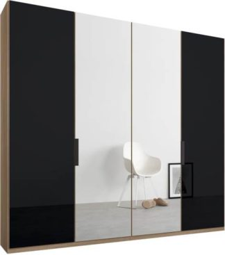 An Image of Caren 4 door 200cm Hinged Wardrobe, Oak Frame, Basalt Grey Glass & Mirror Doors, Standard Interior