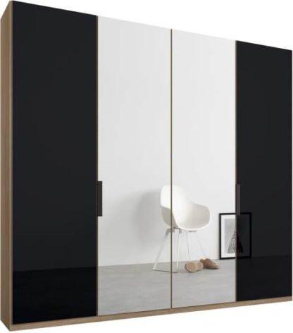 An Image of Caren 4 door 200cm Hinged Wardrobe, Oak Frame, Basalt Grey Glass & Mirror Doors, Standard Interior