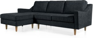 An Image of Dallas Left Hand Facing Chaise End Corner Sofa, Textured Weave Navy