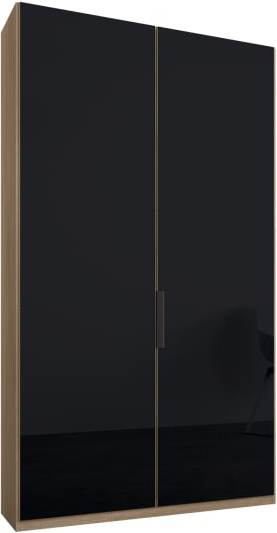 An Image of Caren 2 door 100cm Hinged Wardrobe, Oak Frame, Basalt Grey Glass Doors, Standard Interior