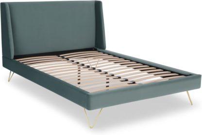 An Image of Elona Double Bed, Marine Green Velvet & Brass Legs