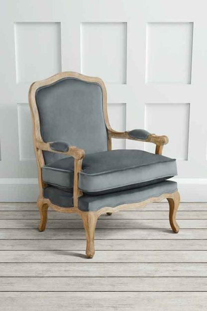 An Image of Le Brun - French Oak Smoke Occasional Armchair