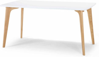 An Image of Fjord 6 Seat Rectangle Dining Table, Oak and White